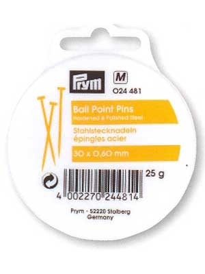 Ball Point Pins, 30x0.60mm, 25g, 375 count