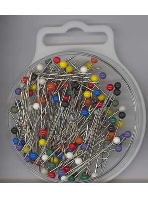 Plastic-Headed Pins, 34x0.65mm, 15g, Assorted Colours, 145 count