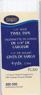 1/4'' Wide Twill Tape 6mmx3.7M 100% Polyester