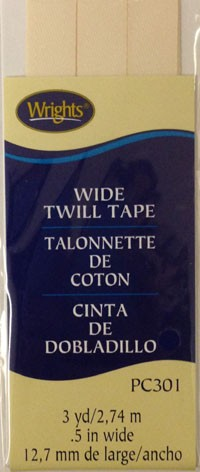 1/2'' Wide Twill Tape, 12.7mmx2.75M, 100% Polyester