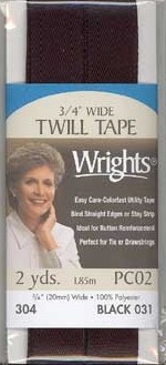 3/4'' Wide Twill Tape, 19mmx1.85M, Polyester