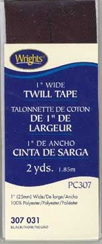 Twill Tape 25mmx1.85M, 100% Polyester