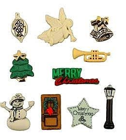 """Caroling Buttons, 3/4"""" - 1"""", 10 count"""