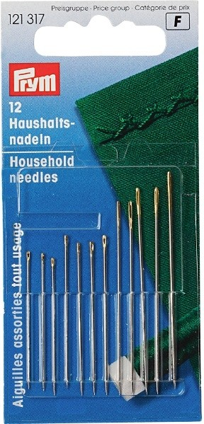 Household hand needles, assorted, 12 pieces