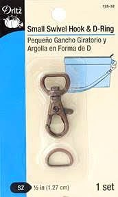 """Small Swivel Hook & D-Ring for Narrow Detachable Straps, Size 1/2"""" (1.27cm), Copper, 1 Set"""