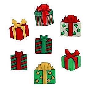 """Christmas Joy Buttons, 3/4"""" - 7/8"""", 7 count"""
