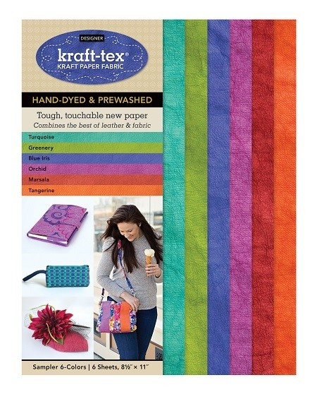 "Kraft-Tex Artisanal (Designer) Kraft Fabric Sampler, 6 Hand-Dyed & Pre-Washed Colors, 8 1/2"" x 11"", 6 Sheets"