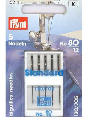 Machine Needles with Flat Shank, size 80, 5 pieces