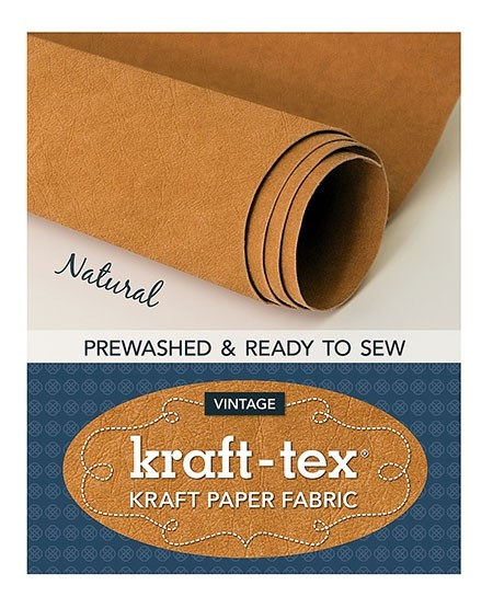 "Kraft-Tex Vintage Pre-Washed Kraft Paper Fabric Roll, 18.5"" x 28.5"", Natural"