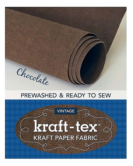 "Kraft-Tex Vintage Pre-Washed Kraft Paper Fabric Roll, 18.5"" x 28.5"", Chocolate"