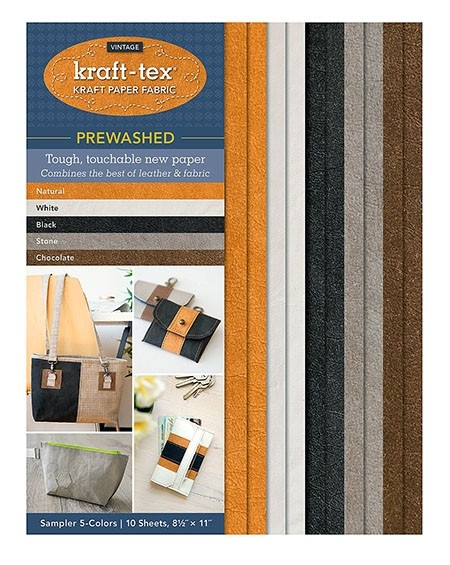 """Kraft-Tex Vintage Kraft Paper Fabric Sampler with 5 Pre-Washed Colors, 10 Sheets, 8.5"""" x 11"""", Natural, White, Black, Stone & Chocolate"""