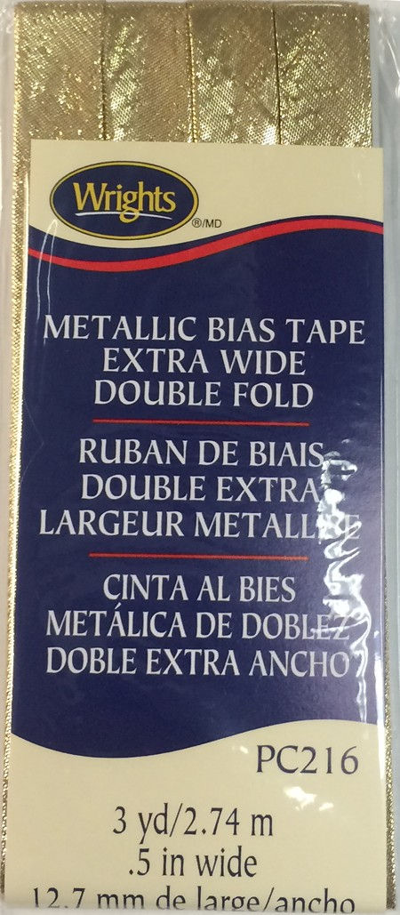 Bias Tape Metallic Extra Wide Double Fold 13mmx2.75M Gold Lame