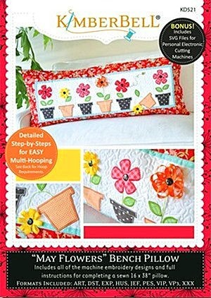 Machine Embroidery CD: May Flowers - Bench Pillow