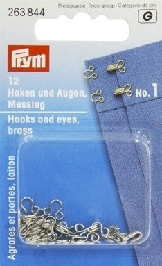 Hooks And Eyes, Brass, Silver-Coloured, No.1, 12 Pieces