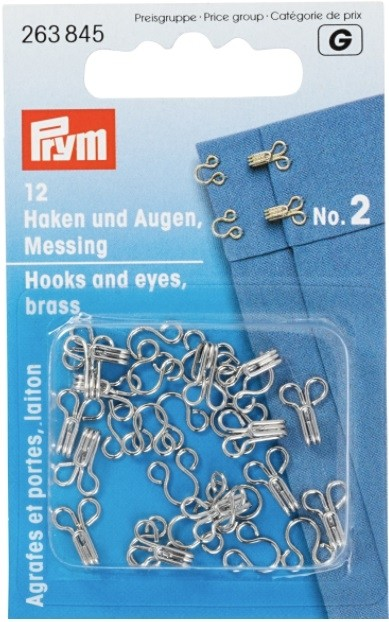 Hooks And Eyes, Brass, Silver-Colored, No.2, 12 Pieces