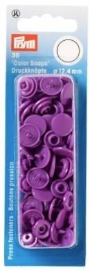 Non-Sew Colour Snaps, Lilac, Round, 12.4mm, 30 sets