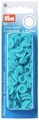 Non-Sew Colour Snaps, Turquoise, Round, 12.4mm, 30 sets