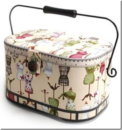"""Large Oval Sewing Basket, Dress Form Pattern with an Organizer Inside, 12"""" x 6-3/8"""" x 7-1/5"""""""