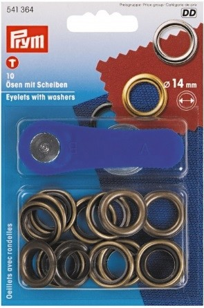 Eyelets with Washers, Antique Brass, 14mm Inside, 10 count
