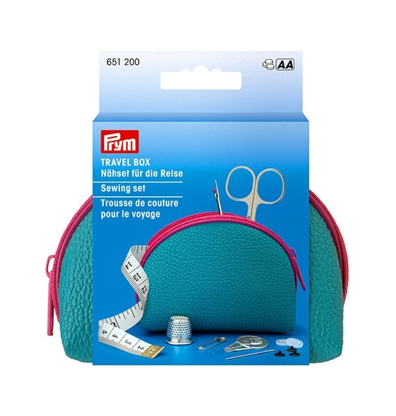 Prym Travel Box Sewing Set/Kit, Medium - Blue/Pink