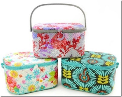 "Large Oval Sewing Basket - 14-1/4"" x 10-1/4"" x8-1/8"", Assorted Fabrics & Colours"