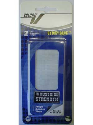 VELCRO®brand Fasteners 4''X2'' Pre-Cut Packaged, 2 Sets, Sticky Back, White