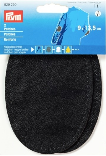 Patches - Imitation Nappa Leather (Sew On), 9 x 13.5cm, Black, 2 Count