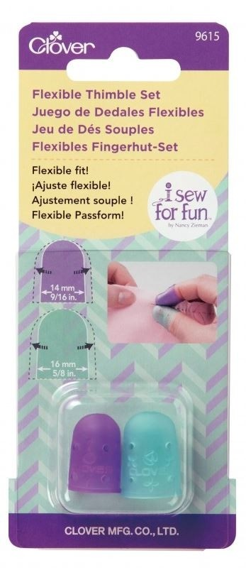 "Clover I Sew For Fun Flexible Thimble Set (Small - 14mm 9/16"" & Medium - 16mm 5/8""), 2pc."