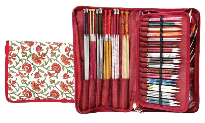 Knitter's Pride Assorted Needles Case - Aspire Hand Block Printed Fabric