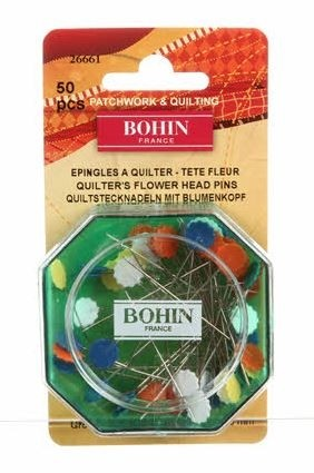 "Bohin Heat-Resistant (No-Melt) Flower Head Pins, Assorted Colours, 51mm (2"") x 50pc."