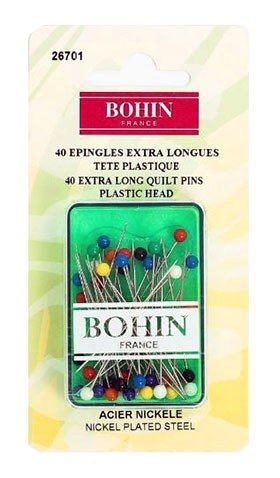 "Bohin Plastic Head Pins, Assorted Colours, 44m (1.75"") x 40pc."