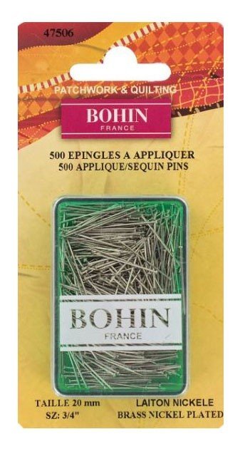"Bohin Applique Pins, Nickel Plated Steel, 19mm (3/4"") x 500pc."