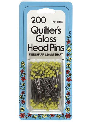 Glass Head Pins, 200 count, 35mm, Yellow Head