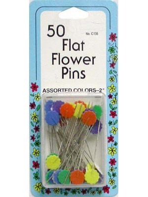 "Flat Flower Pins, 2"" Assorted Colours, 50 Count"