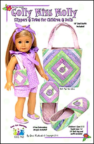 "Golly Miss Molly: Slippers & Totes for Children & Dolls Pattern,  Children's Sizes 5 -13, Youth Sizes 1-4, 18"" Doll bag and Outfit included"