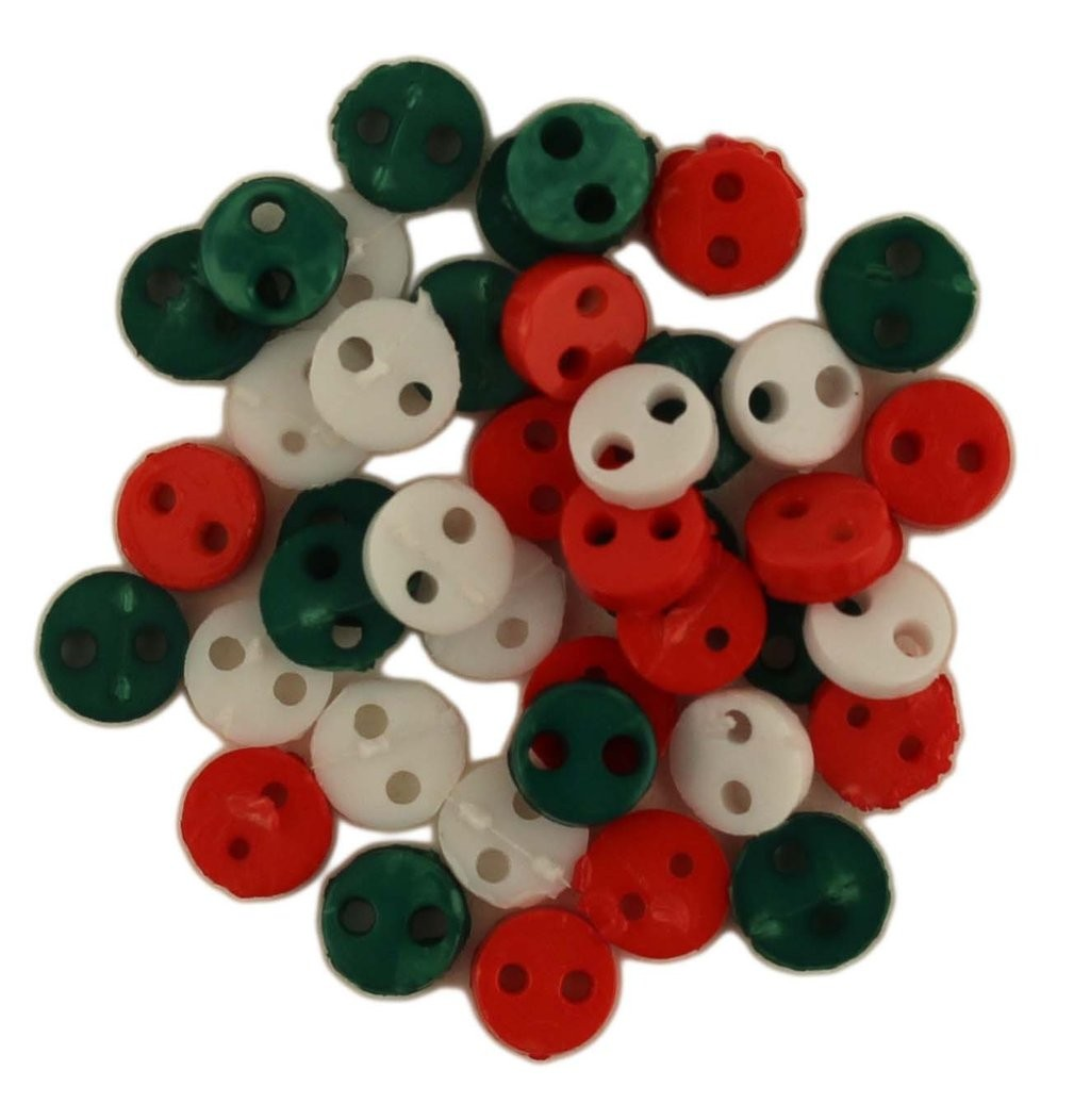 Christmas Tiny Buttons, 4mm, 40 Count