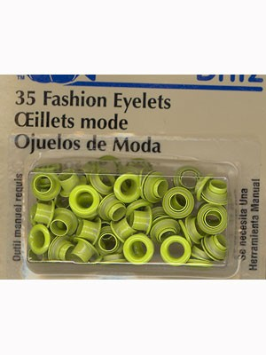 Eyelets 3mm, Lime, 35 count