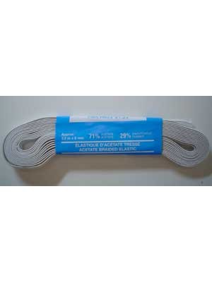 Braided Elastic - White - 75% Rayon/ 25% Rubber - 10mm by 2.1M