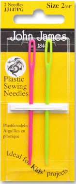 """John James Plastic Sewing Needles, 2 Count, Size 2, 3/4"""""""
