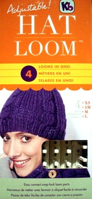Adjustable Hat Knitting Loom in 4 Different Sizes (XS, SM, M,  and L) with  Instructions, Knit hook, and Pegs