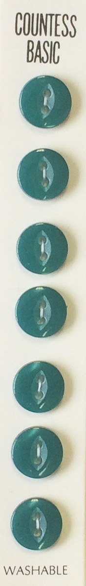 Slimline Buttons, 2 Hole, Size 18, Turquoise, 7 Count
