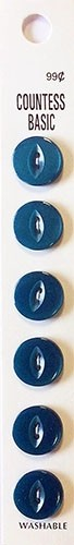 Slimline Buttons, 2 Hole, Size 22, Turquoise, 6 Count