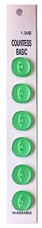 Slimline Buttons, 2 Hole, Size 22, Bright Green, 6 Count