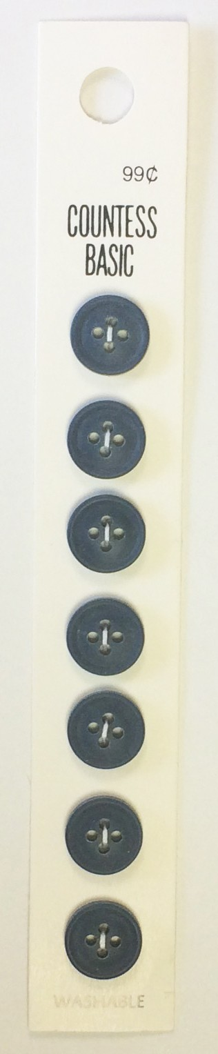 Slimline Buttons, 4 Hole, Size 19, Navy, 7 Count