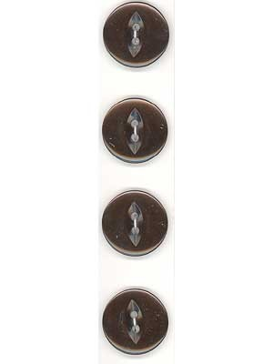 Slimline Buttons, 2-Hole, Size 30, Brown  4  Count