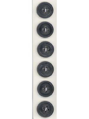 Slimline Buttons, 2-Hole, Size 24, Black,  6 Count