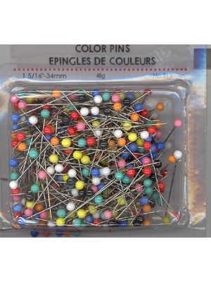Pins, 48g, Assorted Colour Head