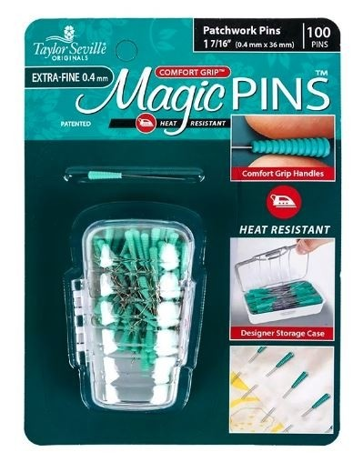 "Taylor Seville Magic Extra-Fine Patchwork Pins, 1 7/16"" (0.4mm x 36mm), 100 Pins"