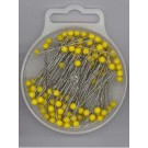 Plastic-Headed Pins, 45x0.65mm, 15g, Yellow, 130 count