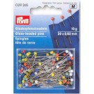 Glass-Headed Pins, 30 x 0.60mm, 10g, Assorted Colours, 100 Count